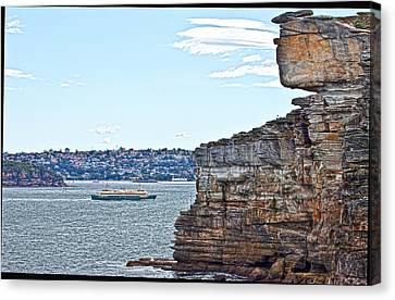 Canvas Print featuring the photograph Manly Ferry Passing By  by Miroslava Jurcik