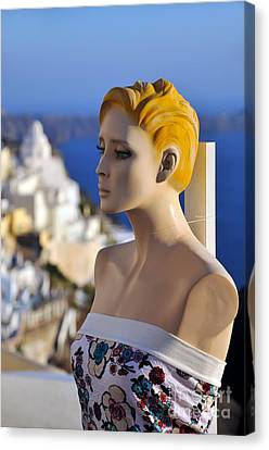 Mannequin Doll In Santorini Island Canvas Print