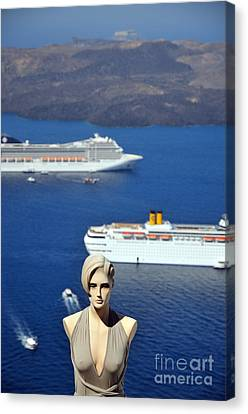 Mannequin Doll In Santorini Islandf Canvas Print by George Atsametakis