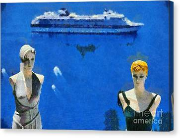 Mannequin Dolls In Fira City Canvas Print by George Atsametakis