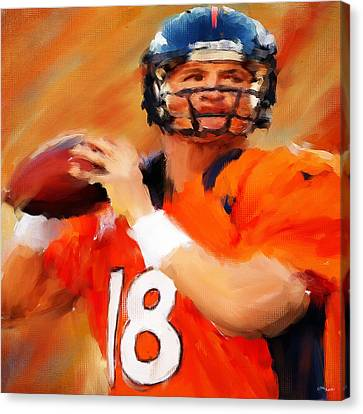 Sports Collectibles Canvas Print - Manning by Lourry Legarde