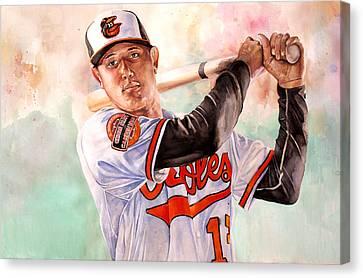 Manny Machado Canvas Print by Michael  Pattison