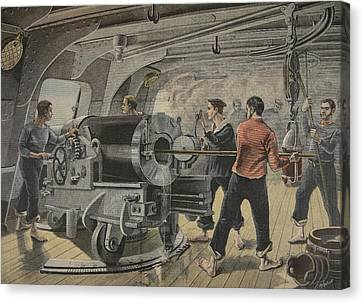 Manoeuvering Of A Cannon By The Spanish Canvas Print by Fortune Louis Meaulle