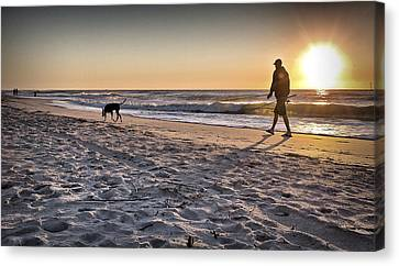 Man's Best Friend On Beach Canvas Print