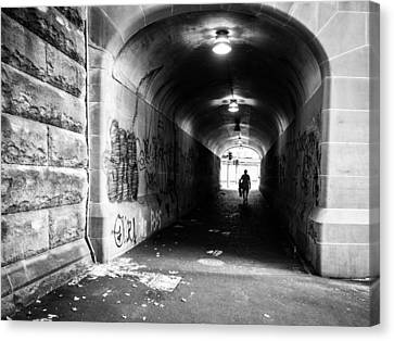 Man's Silhouette In Urban Tunnel Black And White Canvas Print by Kaleidoscopik Photography