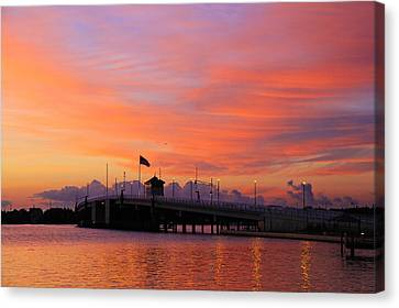 Mantoloking Bridge At Dawn Canvas Print by Roger Becker