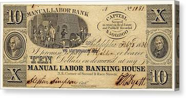 Manual Labor Bank Note Canvas Print by American Philosophical Society