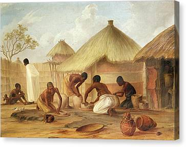 Manufacture Of Sugar At Katipo - Making The Panellas Or Pots To Contain It, 1859 Oil On Canvas Canvas Print by Thomas Baines