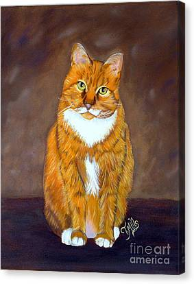 Canvas Print featuring the painting Manx Cat by Terri Mills