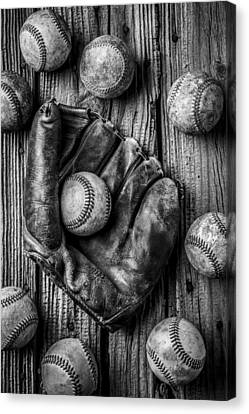 Many Baseballs In Black And White Canvas Print