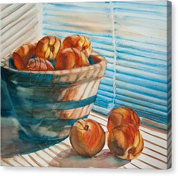 Canvas Print featuring the painting Many Blind Peaches by Jani Freimann