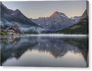 Many Glacier Hotel On Swiftcurrent Lake Canvas Print by Darlene Bushue