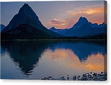 Many Glacier Sunset Canvas Print by Darlene Bushue