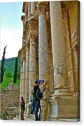 Library Of Celsus Canvas Print - Many Photographers At Library Of Celsus-ephesus by Ruth Hager