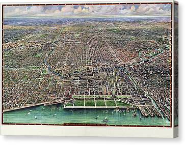 Chicago Canvas Print - Map Chicago, 1916 by Granger