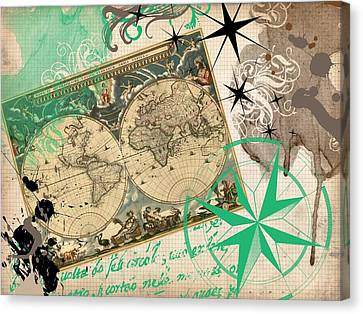 Map Collage Canvas Print by Cindy Edwards