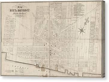 Canvas Print featuring the painting Map Detroit, 1835 by Granger