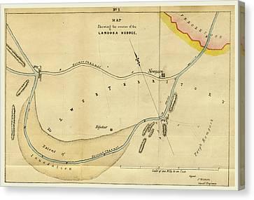 Map Landoha Nuddee, Of 1833 Canvas Print by Litz Collection