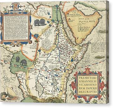 Map Of Africa And The Arabian Peninsula Canvas Print by Abraham Ortelius