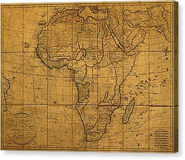 Map Of Africa Circa 1829 On Worn Canvas Canvas Print by Design Turnpike
