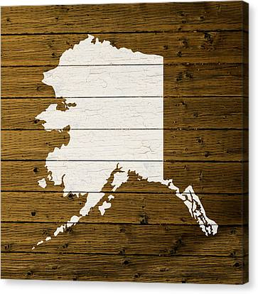 Map Of Alaska State Outline White Distressed Paint On Reclaimed Wood Planks. Canvas Print by Design Turnpike