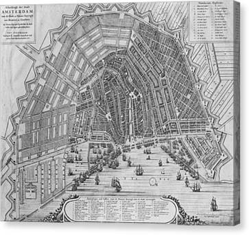 Map Of Amsterdam, 1662  Canvas Print