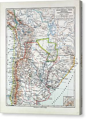 Map Of Argentinia Chile Bolivia Uruguay And Paraguay 1899 Canvas Print by Chilean School