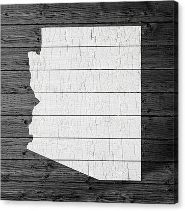Extinct And Mythical Canvas Print - Map Of Arizona State Outline White Distressed Paint On Reclaimed Wood Planks by Design Turnpike