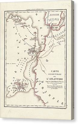 Map Of Atlantis Canvas Print by Library Of Congress, Geography And Map Division
