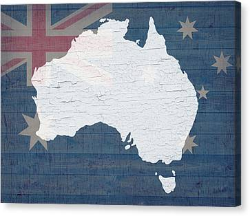 Map Of Australia In White Old Paint On Australian Flag Barn Wood Canvas Print by Design Turnpike