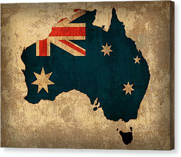 Map Of Australia With Flag Art On Distressed Worn Canvas Canvas Print by Design Turnpike
