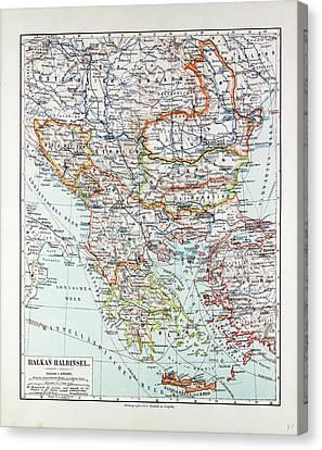 Map Of Austria-hungary Greece Serbia Bosnia And Herzegovina Canvas Print