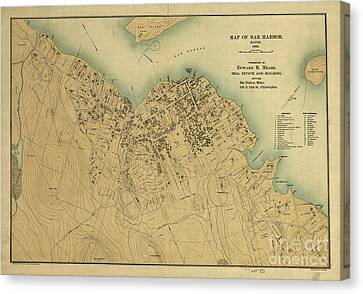 Map Of Bar Harbor Maine 1896 Canvas Print by Edward Fielding