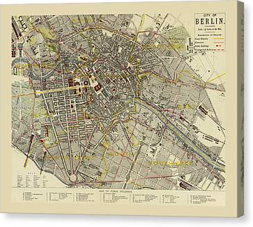 Map Of Berlin 1883 Canvas Print by Andrew Fare