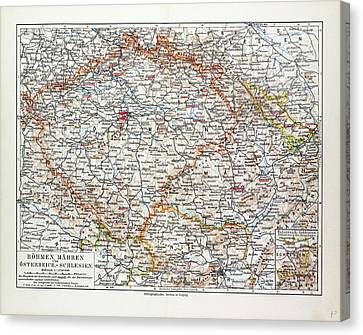 Map Of Bohemia Czech Republic 1899 Canvas Print
