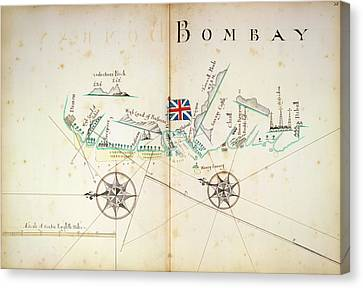 Map Of Bombay Coastline Canvas Print
