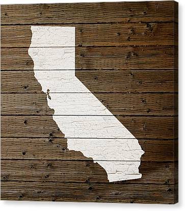 Map Of California State Outline White Distressed Paint On Reclaimed Wood Planks Canvas Print by Design Turnpike