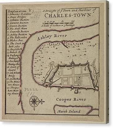Map Of Charles-town Canvas Print