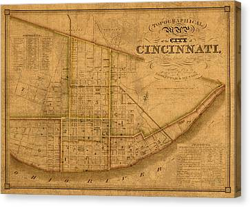Map Of Cincinnati Ohio In 1841 On Worn Distressed Canvas Parchment Canvas Print by Design Turnpike