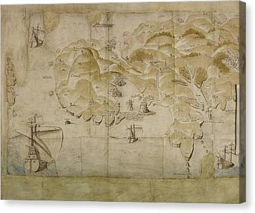 Map Of Cornish Coastline Canvas Print by British Library