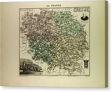 Map Of Creuse 1896 France Canvas Print