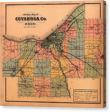Map Of Cuyahoga County Ohio 1874 Canvas Print
