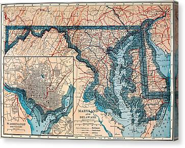 Map Of Delaware And Maryland 1921 Canvas Print