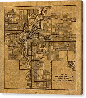 Map Of Denver Colorado City Street Railroad Schematic Cartography Circa 1903 On Worn Canvas Canvas Print