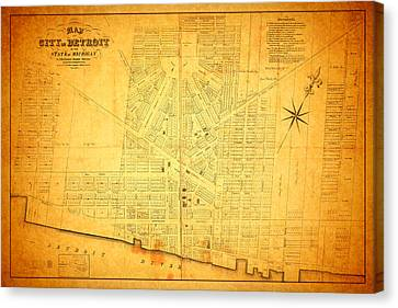 Rusted Cars Canvas Print - Map Of Detroit Michigan C 1835 by Design Turnpike