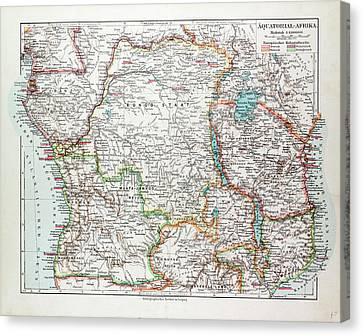 Map Of Equatorial Africa The Republic Of Mozambique Canvas Print by English School