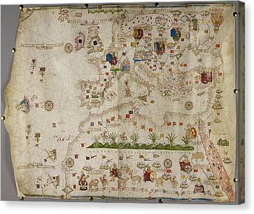 Map Of Europe And Asia Minor Canvas Print by British Library