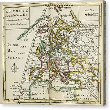Map Of Europe Canvas Print by British Library
