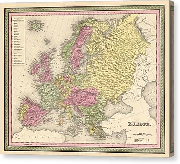 Map Of Europe Canvas Print by Gary Grayson