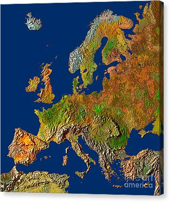 Map Of Europe In Relief Canvas Print by Mike Agliolo